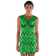 Green Wavy Squiggles Wrap Front Bodycon Dress
