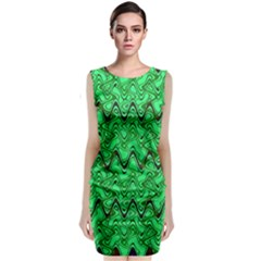 Green Wavy Squiggles Classic Sleeveless Midi Dress