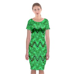Green Wavy Squiggles Classic Short Sleeve Midi Dress