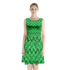 Green Wavy Squiggles Sleeveless Waist Tie Dress