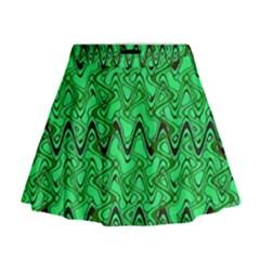 Green Wavy Squiggles Mini Flare Skirt