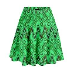 Green Wavy Squiggles High Waist Skirt