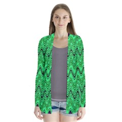 Green Wavy Squiggles Drape Collar Cardigan