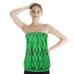 Green Wavy Squiggles Strapless Top