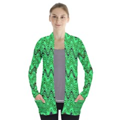 Green Wavy Squiggles Women s Open Front Pockets Cardigan(p194)