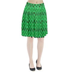 Green Wavy Squiggles Pleated Mesh Skirt
