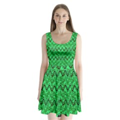 Green Wavy Squiggles Split Back Mini Dress