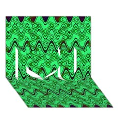 Green Wavy Squiggles I Love You 3d Greeting Card (7x5)
