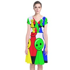 Don t get angry Short Sleeve Front Wrap Dress