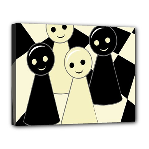 Chess pieces Canvas 14  x 11