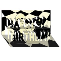 Chess pieces Happy Birthday 3D Greeting Card (8x4)