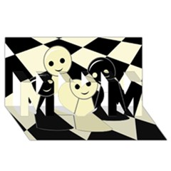 Chess pieces MOM 3D Greeting Card (8x4)
