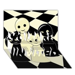 Chess pieces YOU ARE INVITED 3D Greeting Card (7x5)