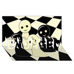Chess pieces ENGAGED 3D Greeting Card (8x4)
