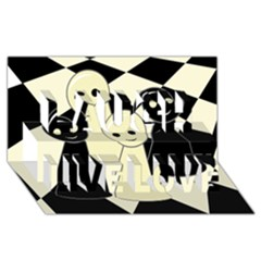 Chess pieces Laugh Live Love 3D Greeting Card (8x4)