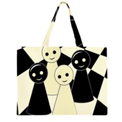 Chess Pieces Zipper Large Tote Bag