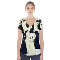 Chess pieces Short Sleeve Front Detail Top