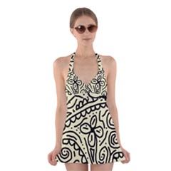 Artistic abstraction Halter Swimsuit Dress
