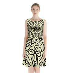 Artistic abstraction Sleeveless Waist Tie Dress