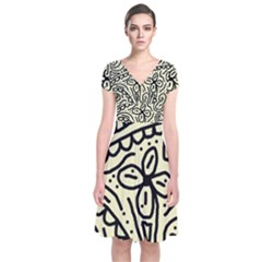 Artistic abstraction Short Sleeve Front Wrap Dress