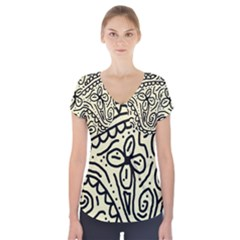 Artistic Abstraction Short Sleeve Front Detail Top