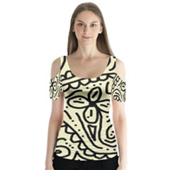 Artistic Abstraction Butterfly Sleeve Cutout Tee