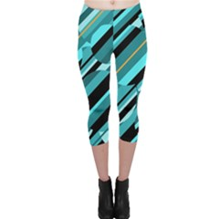 Blue abstraction Capri Leggings