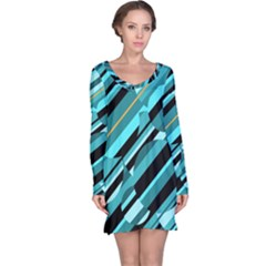Blue abstraction Long Sleeve Nightdress