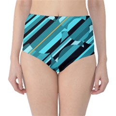 Blue abstraction High-Waist Bikini Bottoms