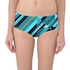 Blue abstraction Mid-Waist Bikini Bottoms