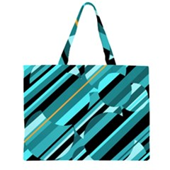 Blue abstraction Zipper Large Tote Bag
