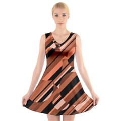 Orange Pattern V Neck Sleeveless Skater Dress