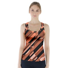 Orange pattern Racer Back Sports Top