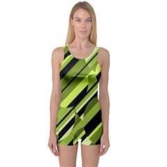 Green pattern One Piece Boyleg Swimsuit