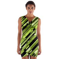 Green pattern Wrap Front Bodycon Dress