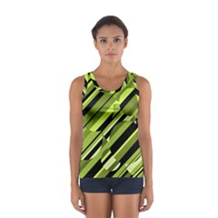 Green Pattern Women s Sport Tank Top