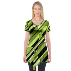 Green Pattern Short Sleeve Tunic