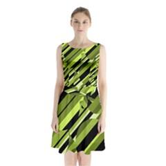 Green pattern Sleeveless Waist Tie Dress