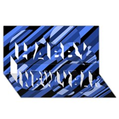 Blue pattern Happy New Year 3D Greeting Card (8x4)