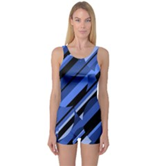 Blue pattern One Piece Boyleg Swimsuit