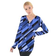 Blue pattern Women s Tie Up Tee