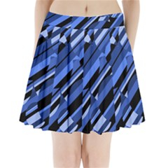 Blue pattern Pleated Mini Mesh Skirt