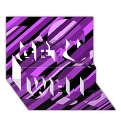 Purple pattern Get Well 3D Greeting Card (7x5)