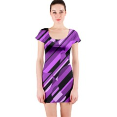 Purple pattern Short Sleeve Bodycon Dress