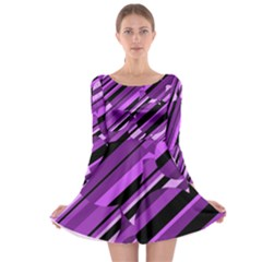 Purple pattern Long Sleeve Skater Dress