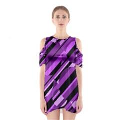 Purple pattern Cutout Shoulder Dress