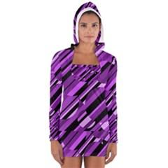 Purple pattern Women s Long Sleeve Hooded T-shirt