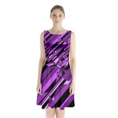 Purple Pattern Sleeveless Waist Tie Dress