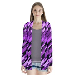 Purple pattern Drape Collar Cardigan