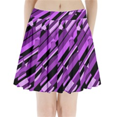 Purple Pattern Pleated Mini Mesh Skirt